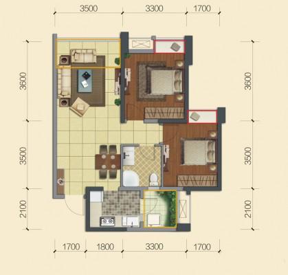 华润幸福里二期3号楼a1ˊa户型2室2厅1卫1厨 75.00㎡房型面积:75.